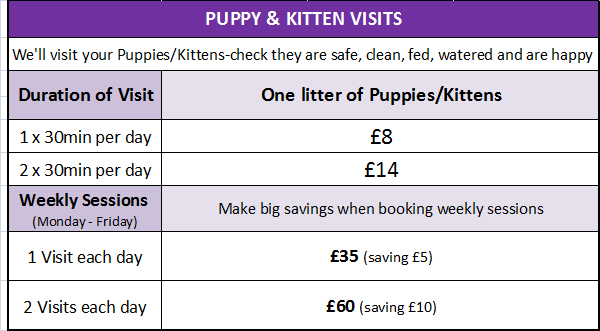 WALKING THE DOG Puppy & Kitten Visit Prices 2010